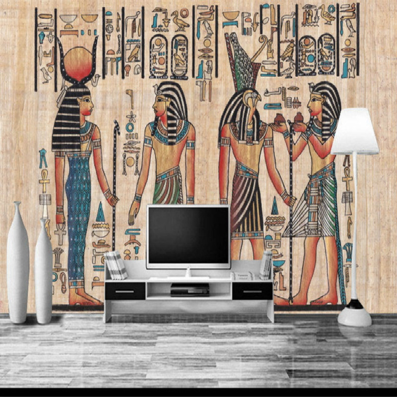 Ancient Egyptian backdrop of large living room bedroom wall painting mural 3D wallpaper TV backdrop stereoscopic 3D wallpaper 3d stereoscopic large mural custom wall paper the living room backdrop bedroom fabric wallpaper murals 3d visual fake window