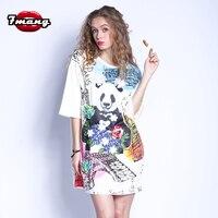 7mang 2017 New Women Cute Animal Panda Printing Flower Beading T Shirt Long Loose White Short