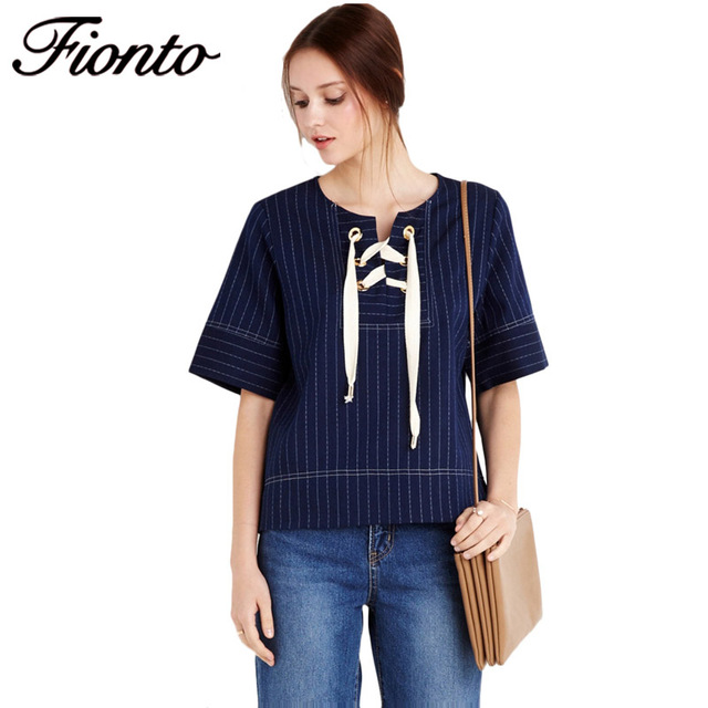 FIONTO Summer Women Casual Hit Color T-Shirts Half Sleeve Sexy O-neck  Shoelace