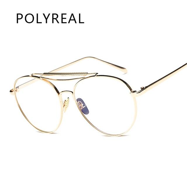 b95427cdc POLYREAL Liga Moda Unissex Óculos de Armação UV400 Óculos Frames Limpar Da  Aviação Para As Mulheres