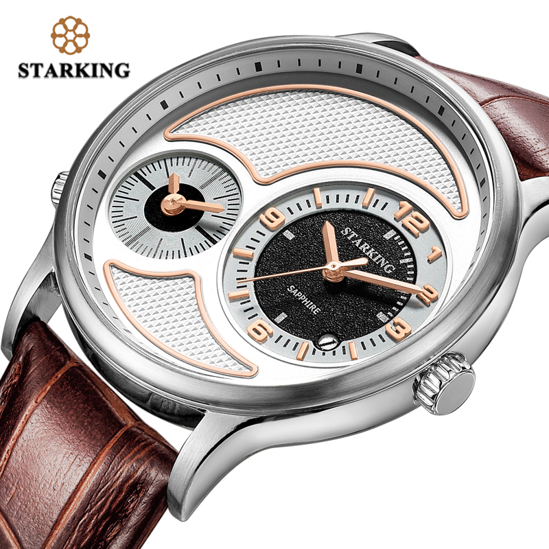 STARKING Men's Wrist Watches Luxury Design Quartz Watch Men Dual Time Zone Watch 3ATM Waterproof Sport Clock Swimming Watches кпб cl 220