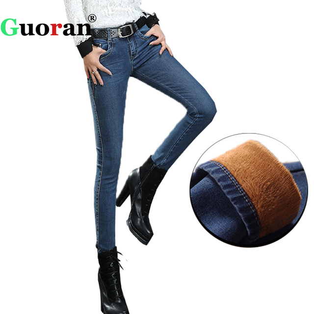 {Guoran}2017 Winter Warm jeans Pants Women's Thicken Velvet denim trousers Femme Pantalon jeans leggings Stretch Plus Size 33 34