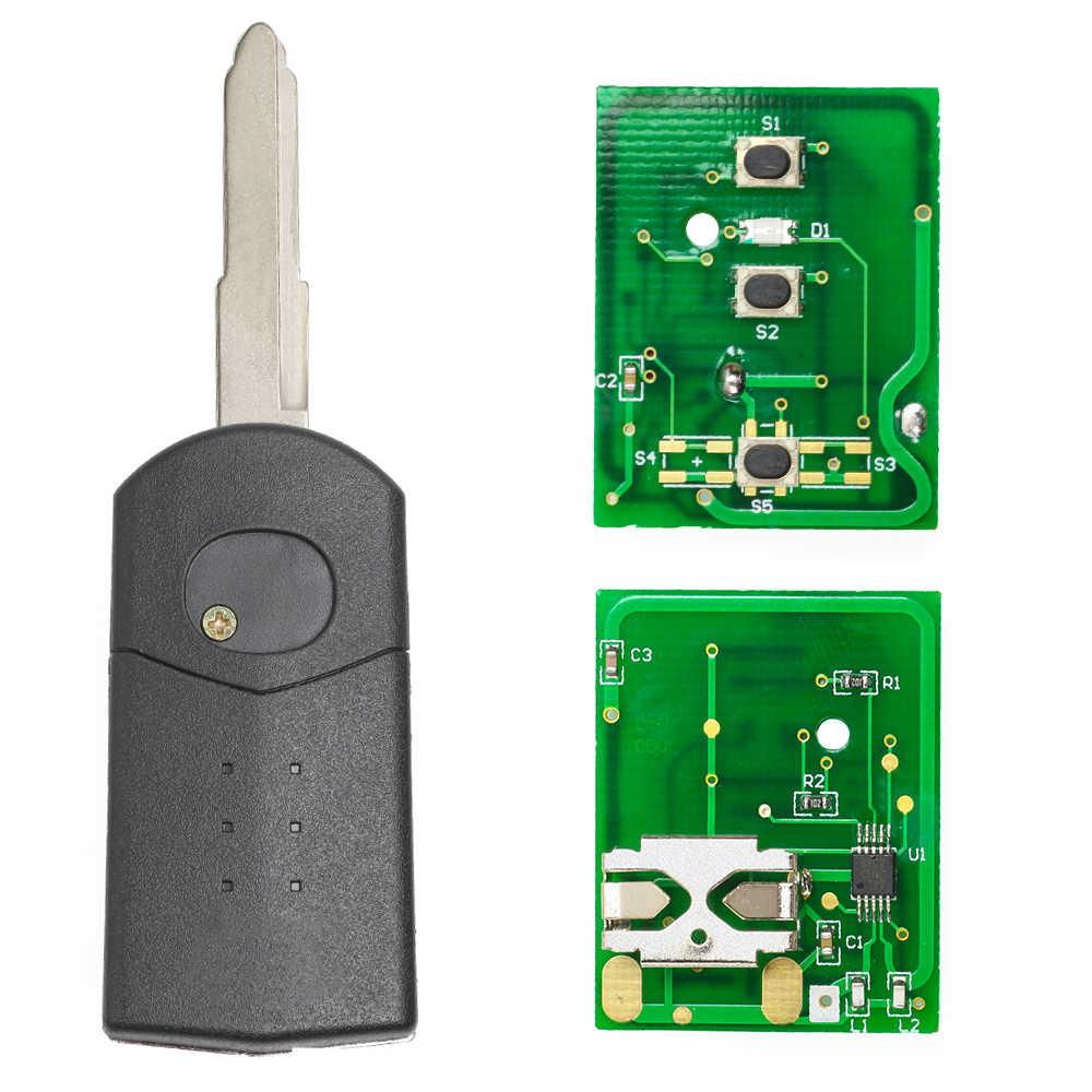 Keyecu clé de démarrage à distance 3 bouton 433MHz 4D63 puce pour Mazda 2/3/5/6/MX5/CX7 (SKE126-01)