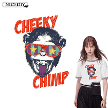 Nicediy Rock Hippie Monkey Patch Heat Transfer Vinyl Sticker Iron On For Clothing Cheeke Chimp Applique Clothes Stripe