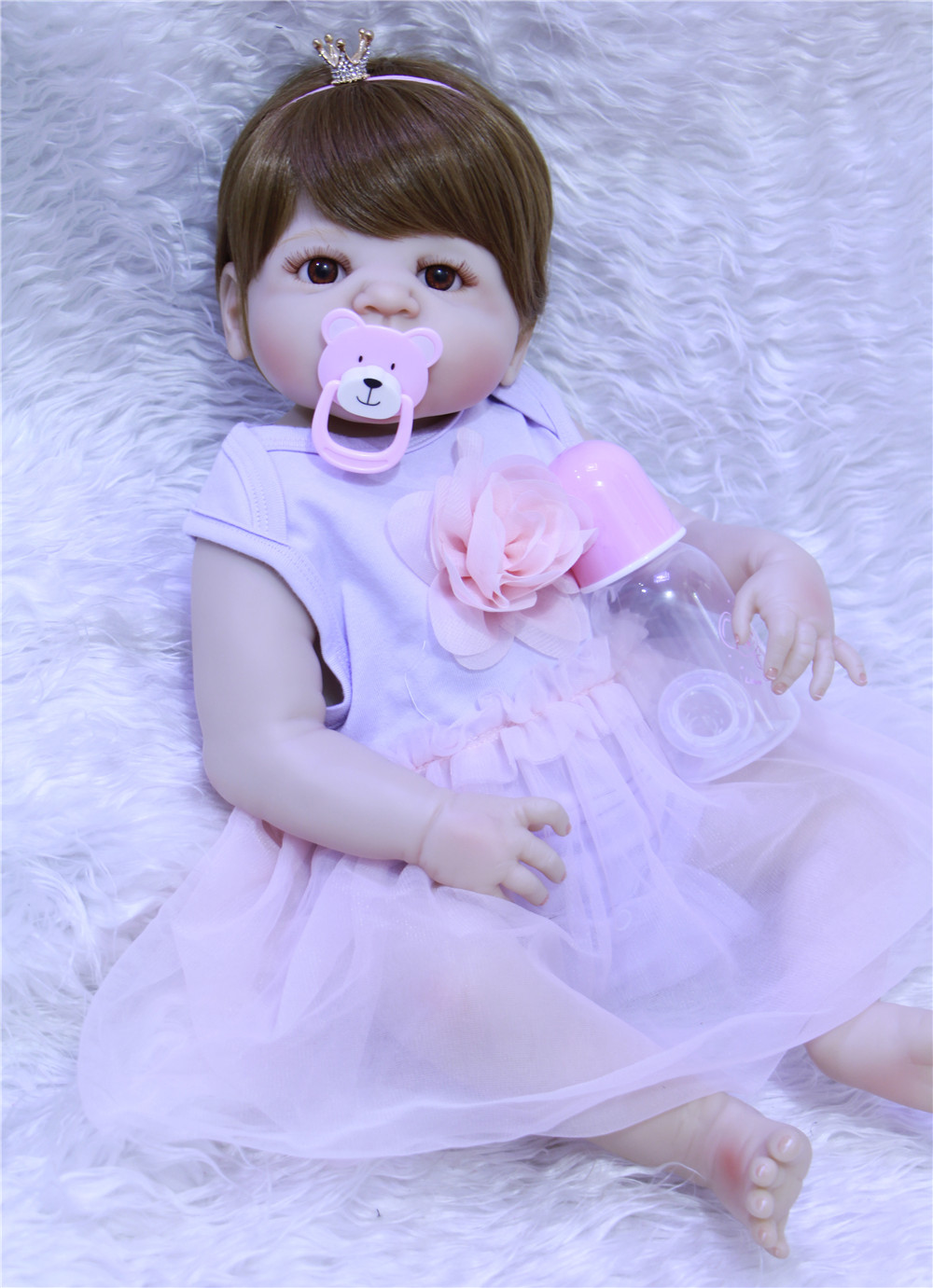 22inch New arrival DollMAI full body silicone reborn toys girl dolls soft silicone vinyl real gentle touch bebe collection doll