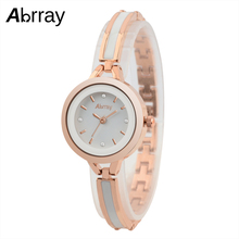 Abrray Fashion Quartz Watch Rose Gold Color Mix White Ceramic Chain Ladies Watches Waterproof Japanese Movement Wristwatch