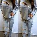 2016 Fashion Zipper Women Tracksuits Hollow Out Hoodies Suit Long sleeve O-Neck Women Hoodies 2 Piece Set  Moletom Feminino