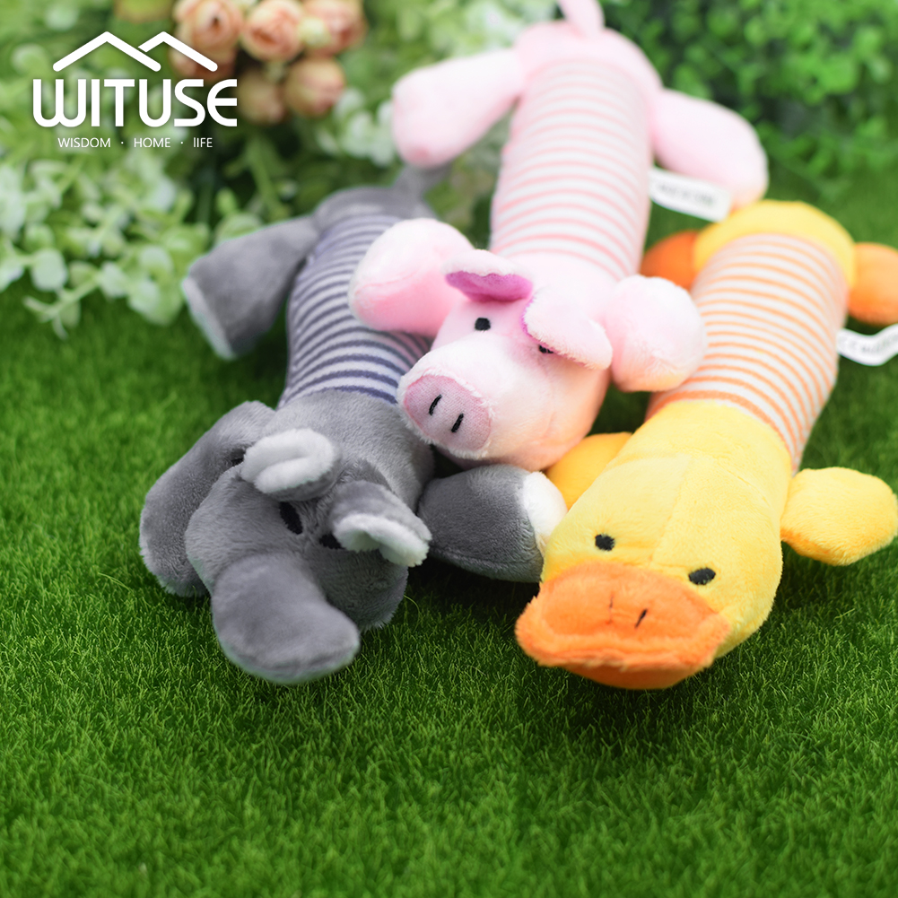 Home & Garden Buy Cheap Pet Dog Plush Toys Stuffed Striped Squeaky Sound Elephant/duck/pig Puppy Squeak Chew Toy