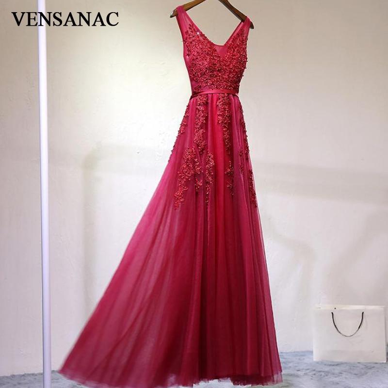 VENSANAC 2018 A Line Lace V Neck Long Evening Dresses Elegant Real Photos Tank Party Appliques Sash Tulle Prom Gowns