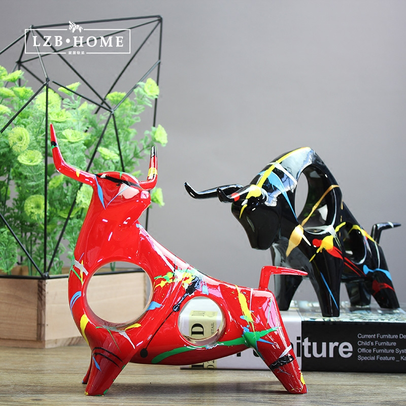 Creative Resin Cow Bull Statue Vintage Abstract Art Home Decor Crafts Room Decoration Objects Resin Bar Cattle Animal Figurines