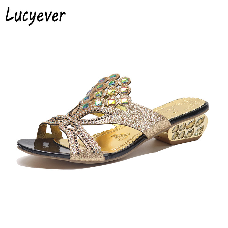 Lucyever Women Summer Open Toe Chunky Heel Sandals Fashion Bling Rhinestones Beach Flip Flops Slip On Outside Slides Shoes Woman 2017 new fashion hgh top women sandals rome styles open toe summer beach shoes slip on female buckles sandals
