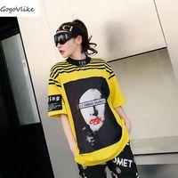 Yellow Striped Top Tees 2018 Spring Summer Women Punk Cool T Shirt Short Sleeve Black Casual