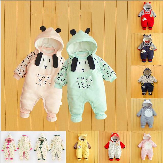 3 Unids/lote mono Del Bebé Más ropa de algodón del bebé ropa de la subida ha Neonatal incluso cuerpo caliente de algodón acolchado ropa de confección LM123