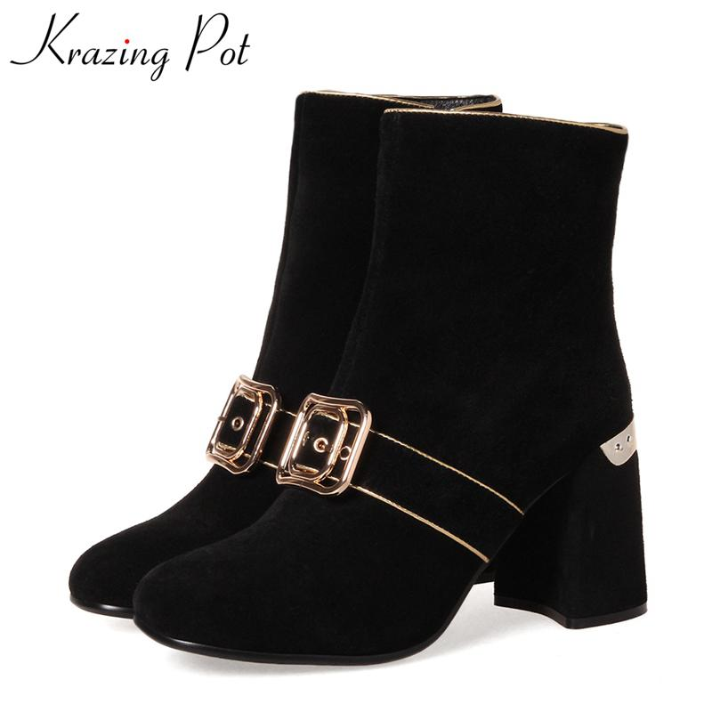 Krazing Pot superstar round toe metal thick heel fashion boots runway new arrival winter shoes slip on women mid-calf boots L71 krazing pot big szie cow suede slip on thick heel tassel bowtie winter pointed toe fashion superstar runway ankle boots l5f1