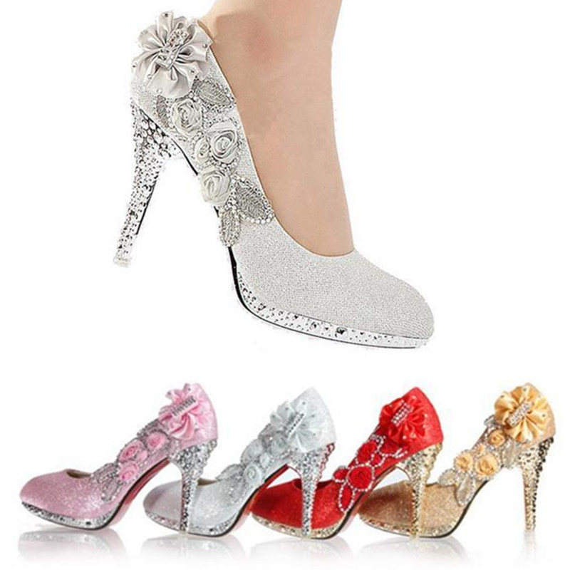 aliexpresscom buy new design women girl wedding pumps bridal glitter fake crystal rose flower evening bridal shoes party 8cm high heel court shoes from