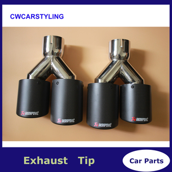 1 par de 63mm/101mm doble fibra de carbono + Acero inoxidable universal Auto akrapovic Punta de escape doble extremo tubo para bmw benz vw golf