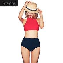 Faerdasi Холтер Высокая Шея Bikinis Женщины 2017 Сексуальная Высокая Талия Бикини Бразильский Купальник Чистый Цвет Пляж Купальники Майо де Bain