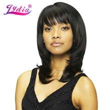 Lydia黒人女性合成かつらで右サイド強打ミディアムストレート自然かつらミックスカラーp1b/30アフリカ系アメリカ人かつら