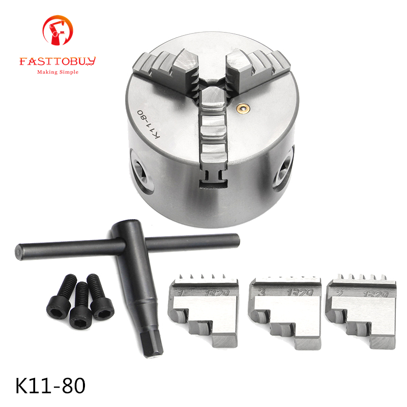 3 inch 3 Jaw LATHE Chuck Self-Centering K11-80 K11 80 80mm with Wrench and Screws Hardened Steel for Drilling Milling Machine new cnc lathe chuck 3 jaw self centering 8 k11 200 200mm three jaws chuck for drilling milling machine with wrench and screws