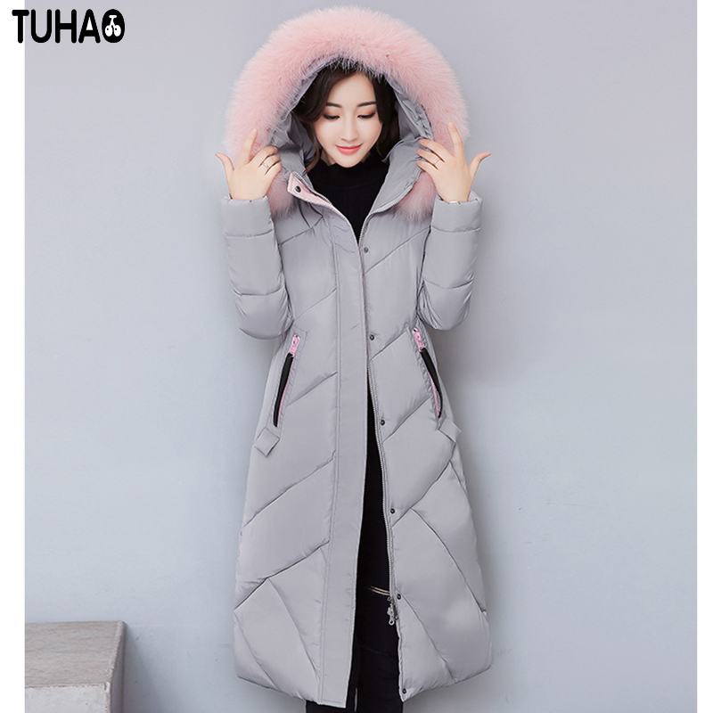 TUHAO 2017 New Women Long Winter Thick Warm Cotton Coat Feather Hooded Slim Jacket Pure Color Patch Designs Fashion Outwear LW31 tuhao lady down cotton pure color manteau femme hiver thick warm jackets 2017 new autumn winter women hooded long coats lw20