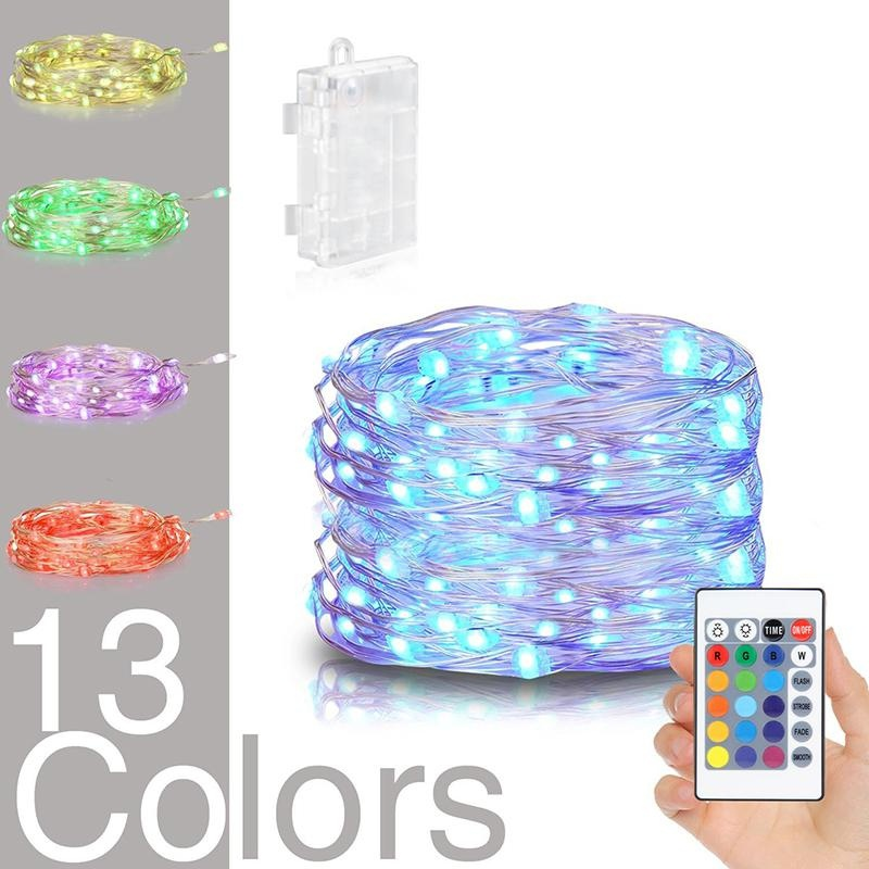 Henynet Battery Powered Multi Color Changing 50 Led String