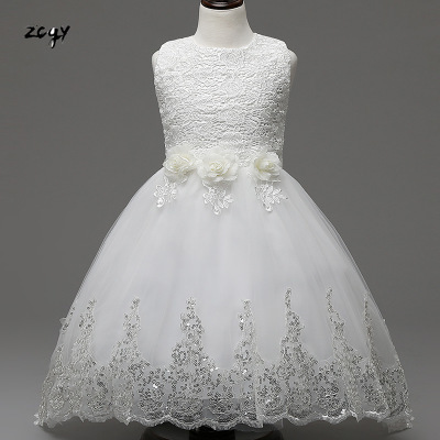 Girls Party Wear Dress Kids 2019 Flower Lace Children Girls Elegant  Ceremonies Wedding Birthday Dresses Teenagers Prom Gowns fc6a088f82e6