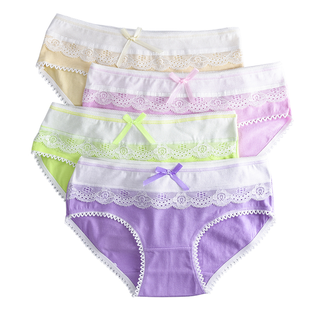 4 Piece/lot Soft Cotton Young Girl Briefs for Teenage Girls Panties Candy Colors Kids Underwear Pants Underpants 9-20T 1