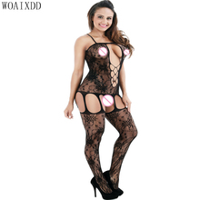 New Plus Size Striped Sexy Lingerie Bodysuit with Elastic Lace Stockings Backless Shoulder Straps Detail Underwear Bodystocking недорого