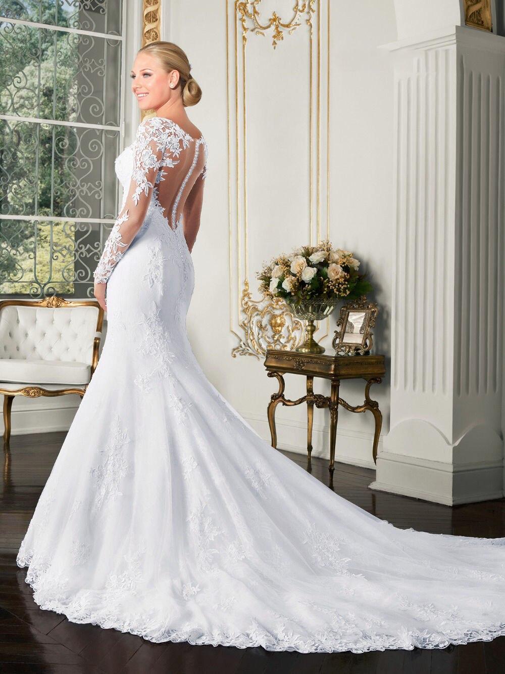 Beauty Emily Luxurious Embroidery Vestidos De Novia Long V Neck Lace Appliques Mermaid Wedding Dresses 19 Backless Bridal Gown 2
