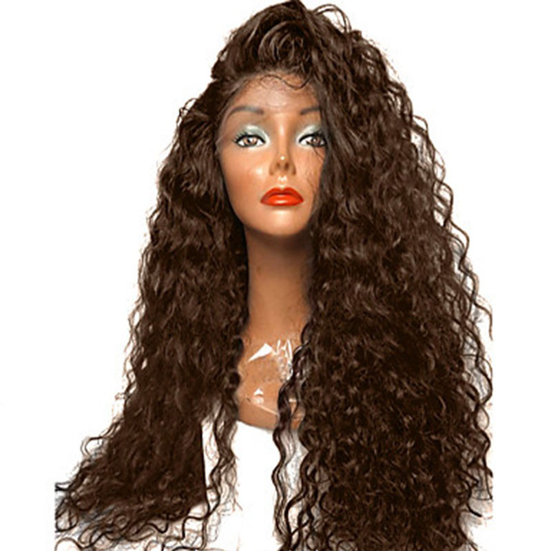 Bombshell Black Brown White Wine Red Bouncy Loose Curly Synthetic Lace Front Wig Heat Resistant Fiber