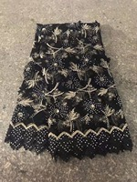 Black Gold French Lace Latest Lace High Quality 3D Applique Flower Lace Fabric With Stones For