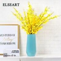 Modern Europe style simple ceramic blue strip vase table decorative porcelain figurine for dry flower home decoration