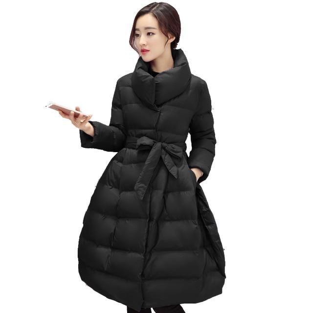 New Winter Thicken Long Jacket Women Down Cotton Stand Collar Warm Big Hem Parka Outerwear Coat Women Casaco Feminina YC573