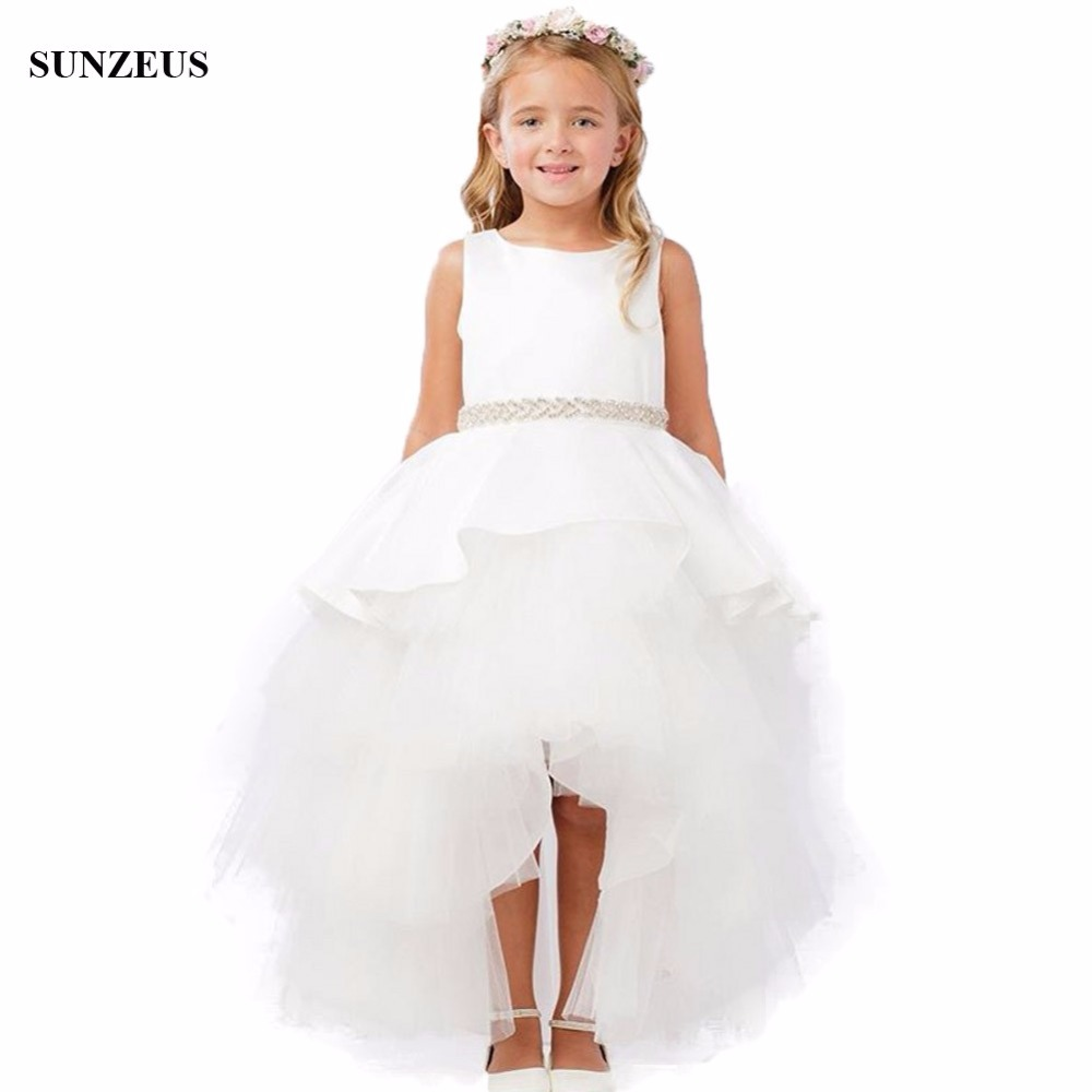 High Low Flower Girl Dress Short Front Long Back White Girls Dress