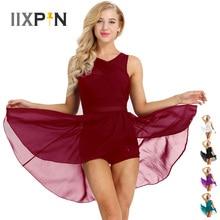 IIXPIN Women ballet dress ballerina dance Sleeveless Cut Out Asymmetric Chiffon Stretchy Ballet Dance Gymnastics Leotard Dress