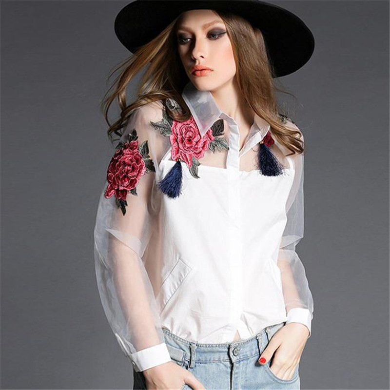 Fashion 2017 Embroidered Shirt European Style Blouse Long Sleeve Womens White Shirt Embroidered