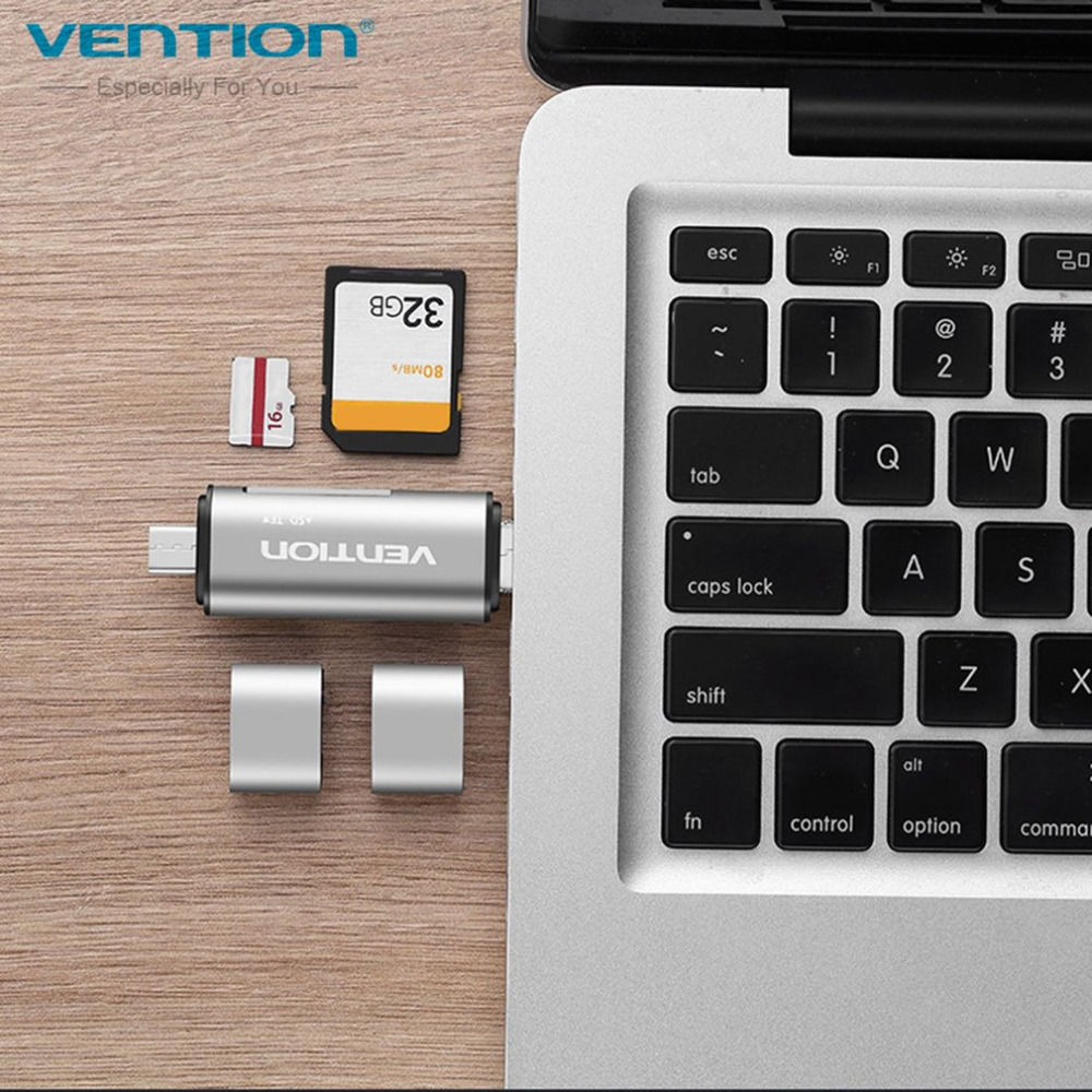 Vention Multifunctional USB2.0 Card Reader High Speed SD TF Card Reader With Type-C Micr ...