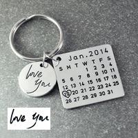 Calendar Key Chain Handmade And Hand Stamped Birthday Keyring Wedding Day Keying