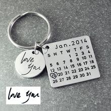 Venta del Día de padres, Personalizado Llavero Calendario, Firma calendario Calendario llavero Mano Estampada, fecha resaltada con corazón