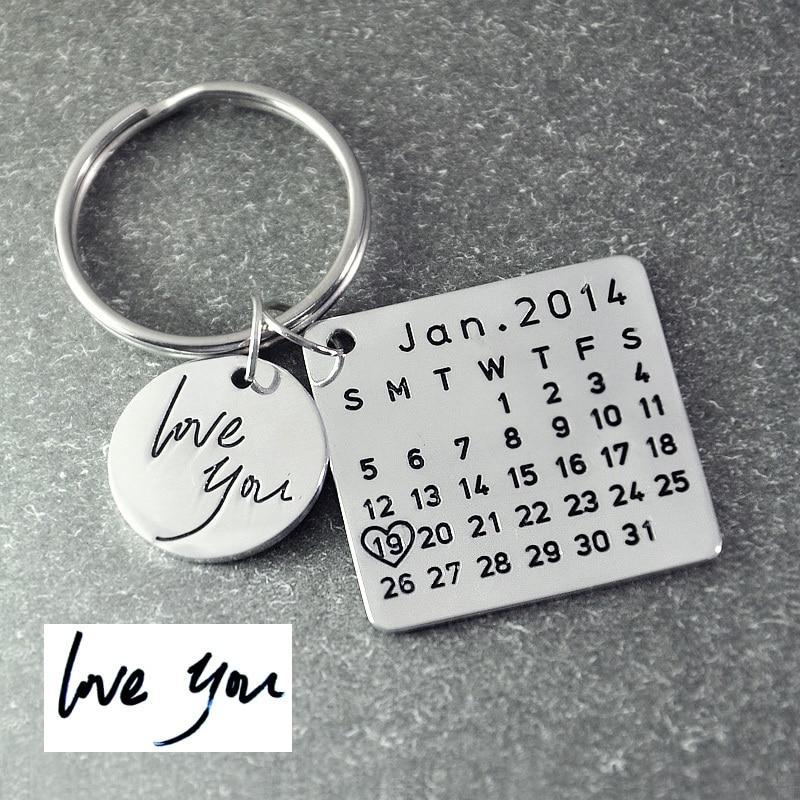 Fathers Day di Vendita, Calendario Personalizzato Keychain, Firma calendario catena chiave Mano Timbrato Calendario, data evidenziato con cuore