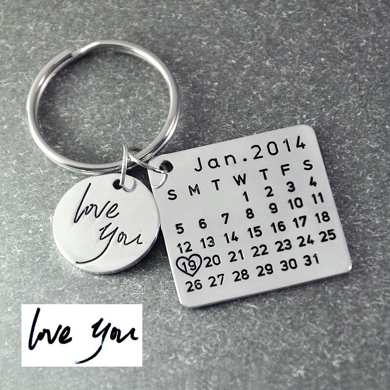 Vatertag Verkauf, Personalisierte Kalender Keychain, Unterschrift kalender schlüssel kette Hand Gestempelt Kalender, Datum markiert mit herz