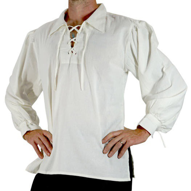 MoneRffi 2019 Adult Men Medieval Renaissance Grooms Pirate Tunic Top Larp Costume Lace Up Shirt Middle Age Viking Cosplay Top