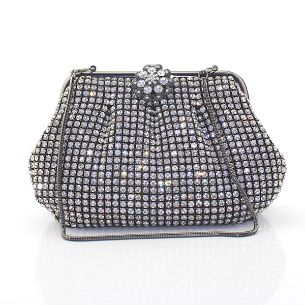 Fashion Luxury Gold Women Evening Clutch Bags Metal Frame Silver Crystal Purse Diamond Hand Bag Chain Wallet(6087-BG) fuzzy metal clutch wallet