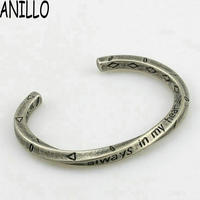 ANILLO New Men Viking War Bangle Simple Rude Vintage Silver Color High Quality Titanium Steel Twisted