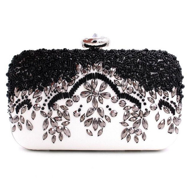 New elegant black and white beaded evening bag mini chain shoulder bag cheongsam bag women party clutch bag purses and handbags