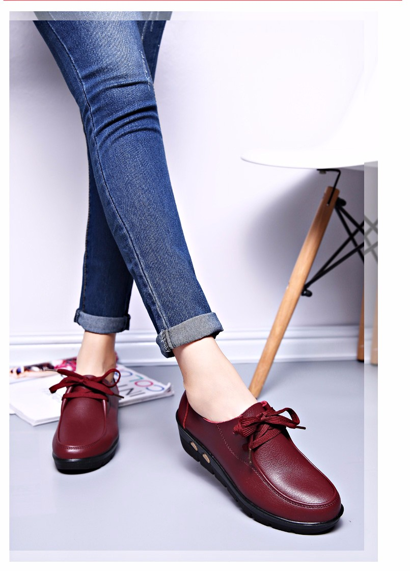 Women Oxfords Leather Shoes New Arrival Round Toe Lace Up Casual Women Flats Size 35-41 Flat Heels Platform Ladies Shoes NX27 (22)