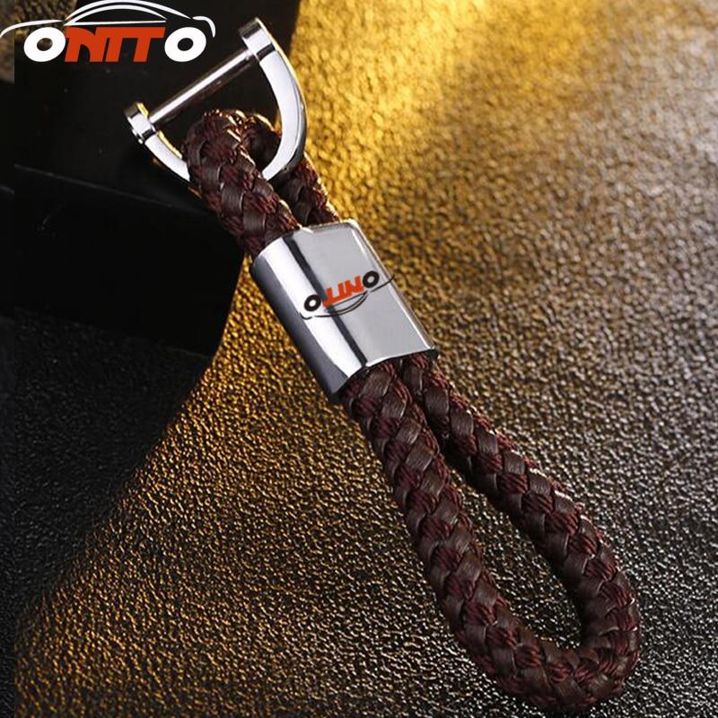 100pcs/Lot Car Styling Auto Key Ring Pendant Keyring Leather Car Leather Braided rope keychain ring