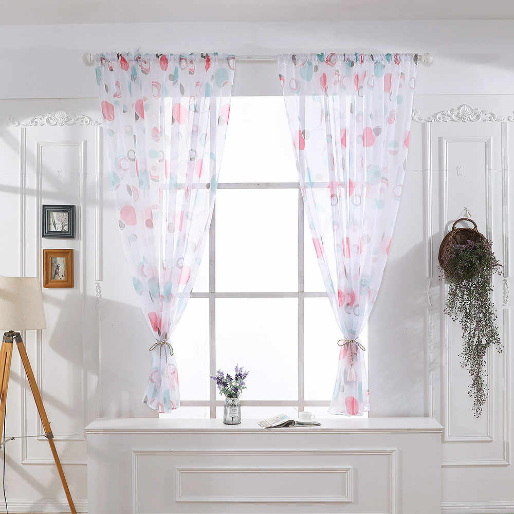 Leaves Sheer Curtain Tulle Window Treatment Voile Drape Valance 1 Panel Fabric Leaves Embroidered Living Room Curtains