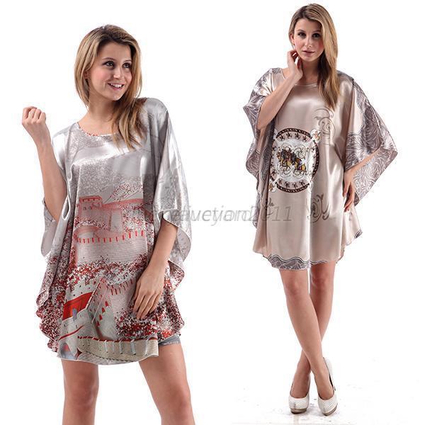 Summer Sexy Silk Nightgown Sleepshirts women nightwear Short-sleeves Plus Size Sleepwear Lounge Casual Satin Nightwear