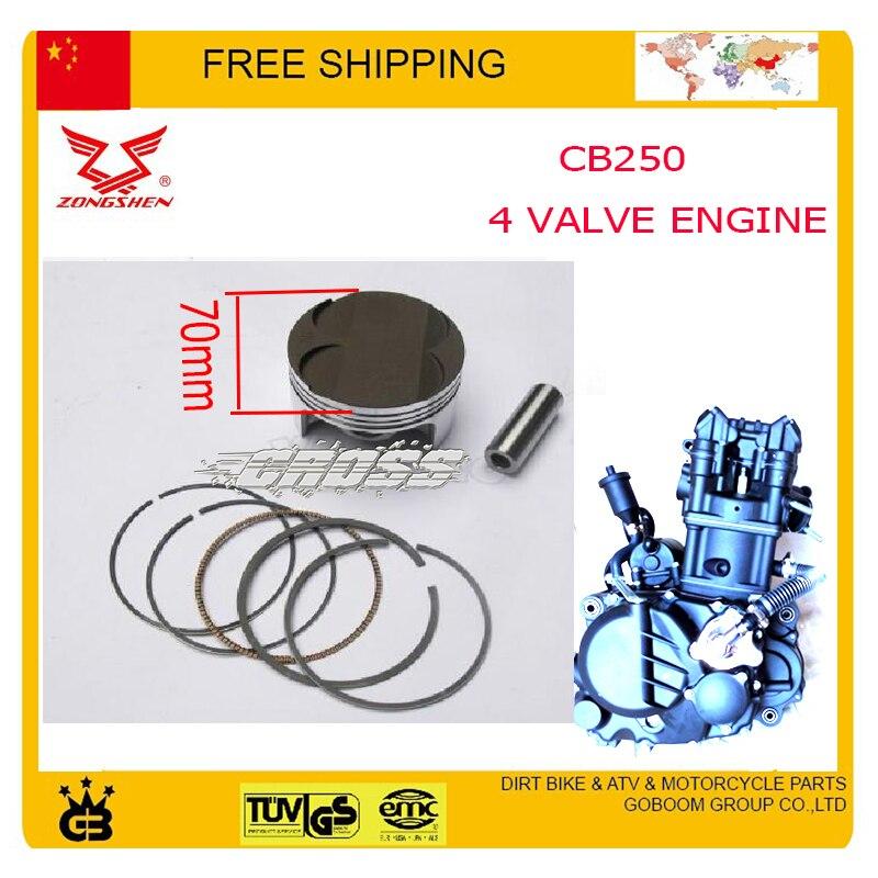 Zongshen cb250 4 anneau de la soupape de piston pin set piston kit 70 mm xmotos apollo KAYO BSE 250cc 4 vannes pièces accessoires livraison gratuite